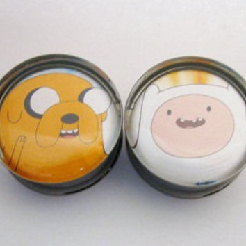 Adventure Time Jake Finn Face 2 Plugs 2g 0g 00g 7/16 by SuperPlugs