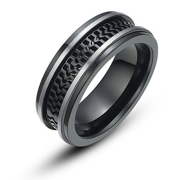 Stainless Steel Track Pattern Ring