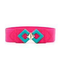 Sophisticated Two-Toned Waist Belt - Pink and Turquoise