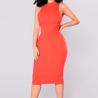 Chase Me Down Midi Dress - Red