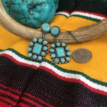 NAVAJO KINGMAN TURQUOISE EARRINGS
