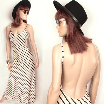 open back maxi // stripes