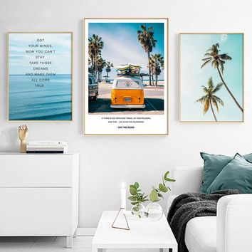Tropical Sea Palm Tree Wall Art Canvas Painting Travel Landscape Nordic Poster Motivational Prints Decorative Picture Home Decor