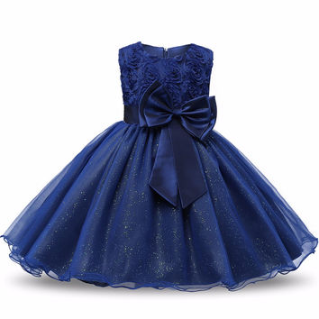 Summer 2017 Christening New Party Baby Girl Dress For Birthday Newborn Infant Kids Clothes Sequin Princess Girl Dresses Bebe