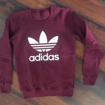Adidas Burgundy Fashion Casual Long Sleeve Sport Top Sweater Pullover Sweatshirt-1