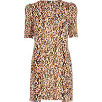 River Island Womens Pink graphic leopard print shift dress