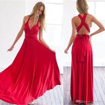 Dress Women Long Summer Convertible Bohemian Dresses Casual Bandage Evening Prom Club Party Floor-Length Infinity Multiway Maxi Dresses