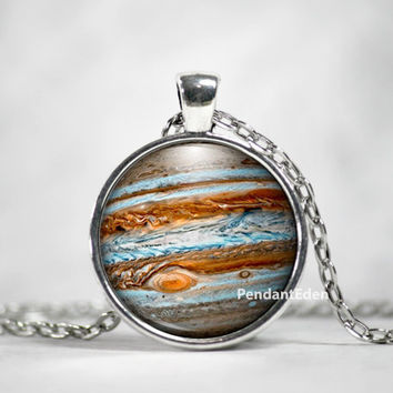 Planet Jupiter Necklace Pendant Jewelry Space, Galaxy, Celestial, Solar System,Pastel