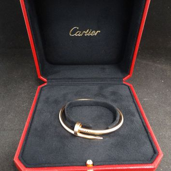 Cartier 18 Karat Rose Gold Nail Bracelet with Box Size 16
