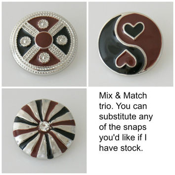 Black & Brown enamel matching trio. Snap button charms are 20mm will fit Noosa or Ginger snap Bracelet