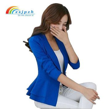 CREYCI7 XSJPZH 2017 Plus Size Blazers Jackets For Women Royal Blue Blazer Candy Color Slim Suit Flouncing Long-Sleeved Blazer  YC050