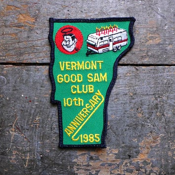 80s Embroidered Patch, Sew On Patch, Retro Jacket Patch, Good Sam Camping Patch, Vermont Jeans Patch, Embroidered Badge, Trailer Park