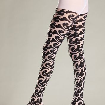 Be Wicked Opaque Tribal Print Pantyhose