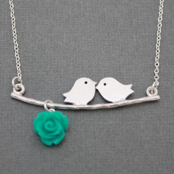 Two love birds on branch with teal flower, STERLING SILVER, necklace, gift, chic, casual, modern