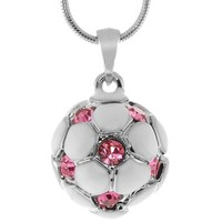 "Stunning White Soccer Ball with Pink Crystals Silver Pendant and 16"" Snake Chain"