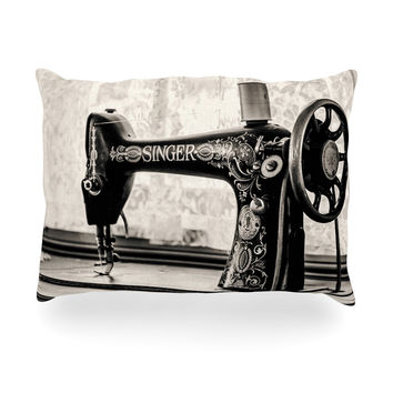 "Debbra Obertanec ""Vintage Home"" Black Gray Oblong Pillow"
