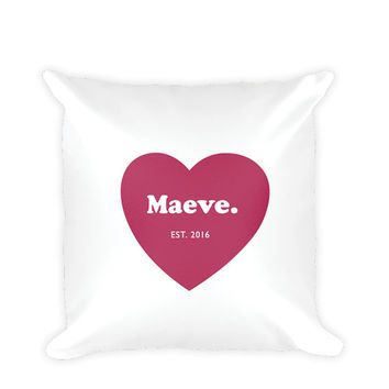 HEART PERSONALISED - Cushion - 18x18 inches - Baby Announcement, New Baby Gift, Personalised Pillow, Personalised Baby, Printed Cushion