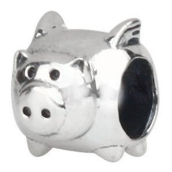 European Charm Sterling Silver Bead Flying Pig
