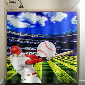 ball hitter bat player stadium baseball shower curtain bathroom decor fabric kids bath white black custom duvet cover rug mat window