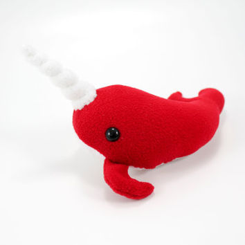 Small Red Stuffed Animal Narwhal Plush Toy
