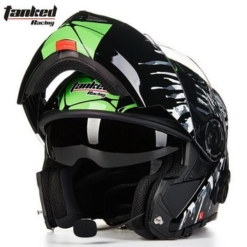 2017 New male Tanked Racing open face motorcycle helmet with Bluetooth dual lens undrape face motorbike helmets of ABS 5 colors