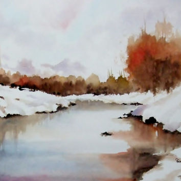 Original Watercolor, Landscape, Snow,White, RedTrees
