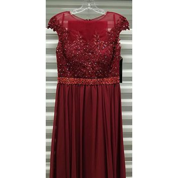 CLEARANCE - Burgundy Cap Sleeved Long Formal Dress Illusion with Appliques (Size Medium)