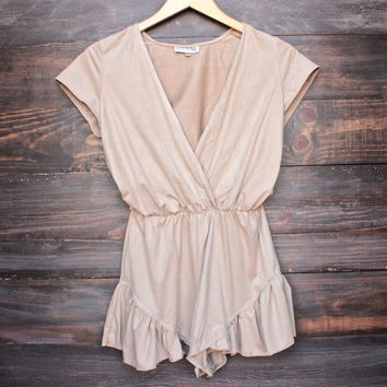 Lioness pur-suede me with ruffle hem romper in beige suede