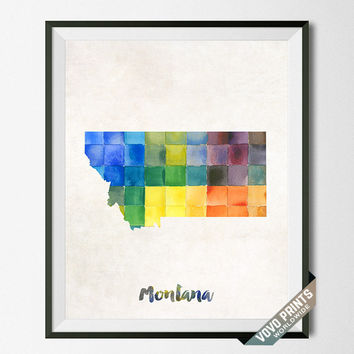 Montana, Map, Print, Helena, USA, Poster, Watercolor, Painting, Home Town, Dorm, Art, States, America, Decor, Watercolour [NO 26]
