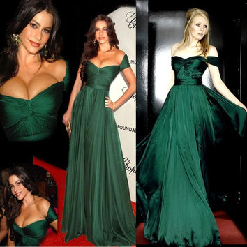 Green Chiffon A-Line Long Prom Dresses