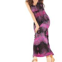 Purple Drop and Dot Printed Smocked Bodice Long Dress