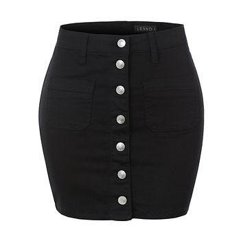 Casual Mid Rise Stretchy Button Up A-Line Denim Mini Skirt