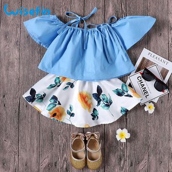Wisefin Baby Girls Clothing Set Summer T shirt + Print Floral Skirt Infant Clothes Baby Girls Set Toddler Girl Clothes Set