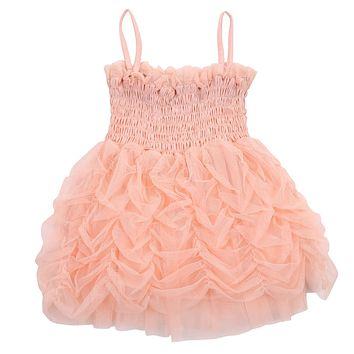 2017 Summer Cute Baby Kids Girls Princess Ruffle Sleeveless Cotton Pink Sundress Party Bubble Tutu Dress