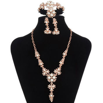 Rhinestone Faux Pearl Necklace Bracelet Ring and Earrings