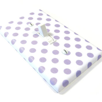 Purple Polka Dots on White Light Switch Cover Girls Bedroom Decor Lavender Nursery Decor 1236
