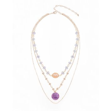 Gold Plated Necklace with Light Purple, Purple and Peach Beads 16 1/2 in + 3 in ext