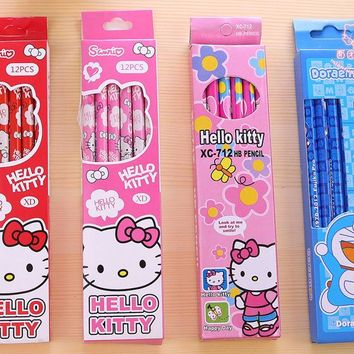 12Pcs/set Kawaii Cute Cartoon Hello Kitty Pencil Pencils for Young Student School Office Supplies