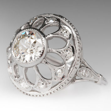 Vintage .98 Carat Old Euro Diamond Snowflake Ring  WMC10653