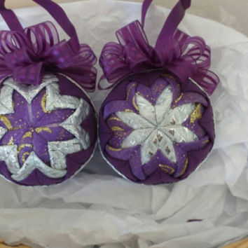 Quilted Christmas ornaments set of two, purple and silver Christmas ornaments, Christmas decoration, tree decoration