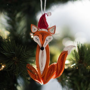 Fox Christmas Ornament - Whimsical Christmas Ornament - Woodland Christmas Ornament - Animal Christmas Ornament - Paper Christmas Ornament