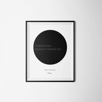 Pablo Neruda Poster - Literary Quote - Typography - Circle Art - Pablo Neruda - Poetry - Poem Print - Word Art  - Minimalist Poster