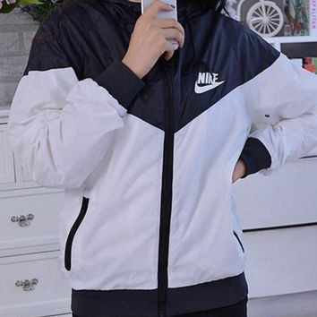 """NIKE"" Trending Women Fashion Casual Zipper Hooded Top Pullover Sweater Sweatshirt G"