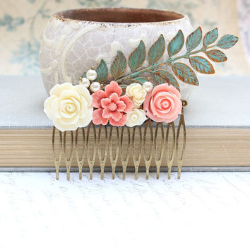 Flower Collage Comb Hair Accessories Coral Peach Pink Ivory Cream Rose White Pearls Green Verdigris Patina Branch Floral Wedding Bridal