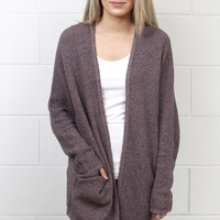 Cozy Marled Knit Sweater Cardigan {Mauve}