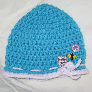 Preemie/Doll, Crochet, Bee Happy, Valentine Hat & Booties
