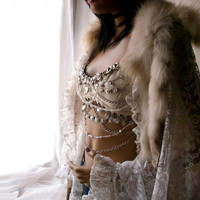Snow Queen one of a kind ivory white lace cape with genuine fur collar and hare pawns