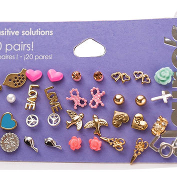 Gold Claire Fashion Accessories Stud Earring Pack Set 20 Pairs Bird Icecream Stars Cross Flower Love Heart Gift For Women Brincos