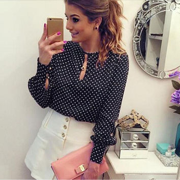 Womens Long Sleeve Blouses Chiffon Polka Dots Shirt Tops SM6