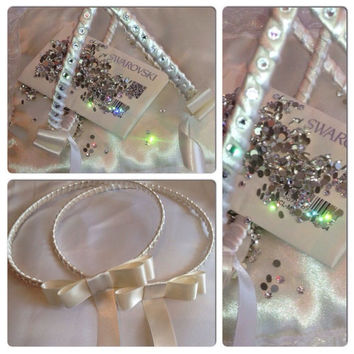 Greek STEFANA made with crystals from Swarovski elements - Set of Handmade Orthodox Wedding Crowns / Tiaras